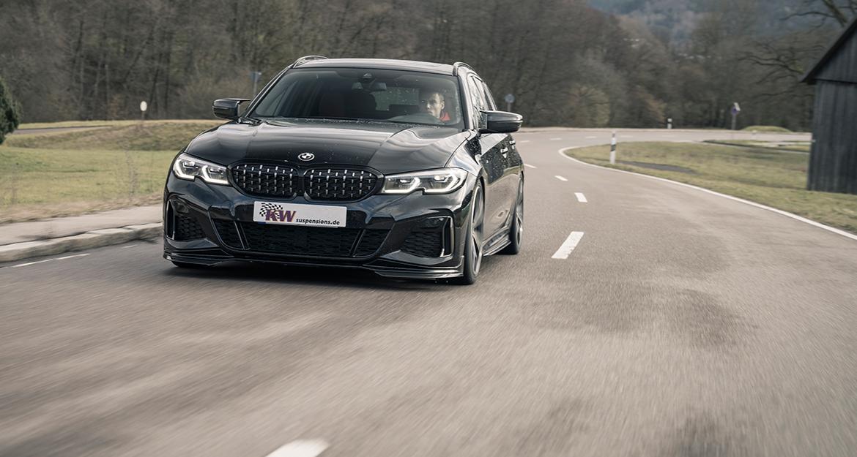 Durch ein KW Gewindefahrwerk profitiert auch der neue BMW 3er Touring von einer besseren Straßenlage.