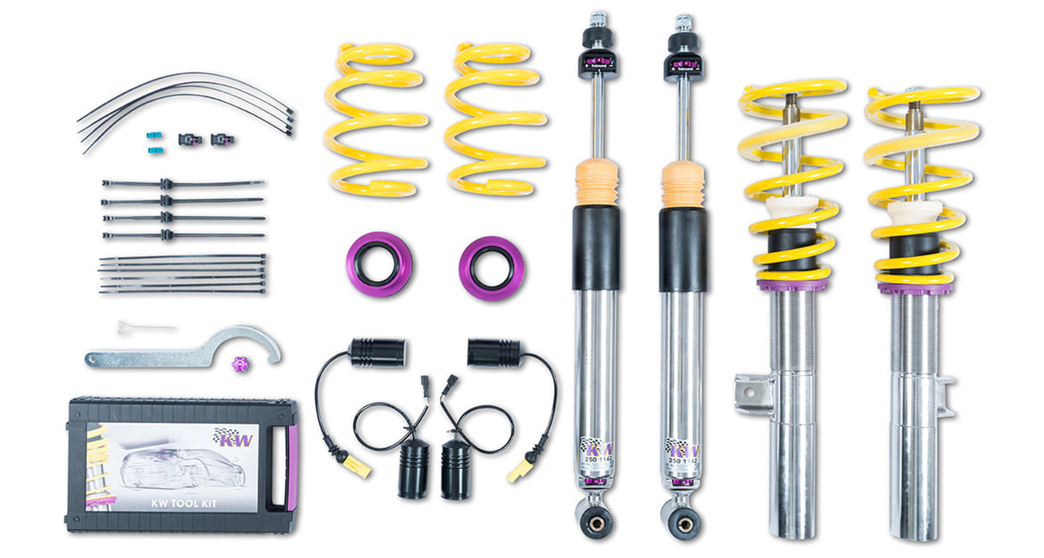 While the KW Clubsport coilover is available for the sporty Mercedes-AMG A35 4MATIC sedan in addition to the KW coilover Variant 3, the KW coilover Variant 1 is also available for all other engine versions.