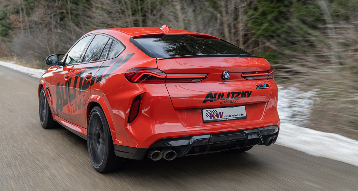 For the BMW X6 M (F96), the technical parts certificate specifies a possible lowering range of 20 to 50 millimeters on the front axle and 15 to 45 millimeters on the rear axle due to the body and the spring travel.