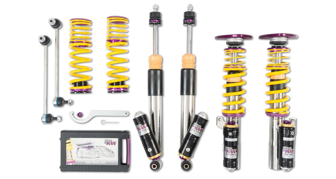 The Clubsport coilovers are available with 3-way and 2-way performance-adjustable racing damper technology.